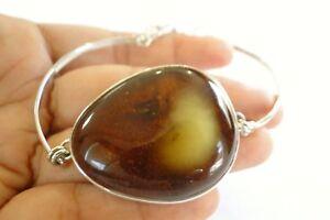 Poland-Baltic-Amber-925-Sterling-Silver-Adjustable-Bangle-Bracelet