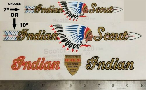 Sticker Decal Set for Vintage Indian Scout Bicycle