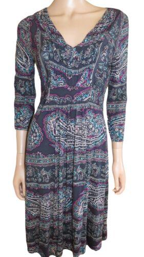 New Per Una M/&S Blue Jersey V Neck Shift Dress Size 8-20  3//4 Sleeve
