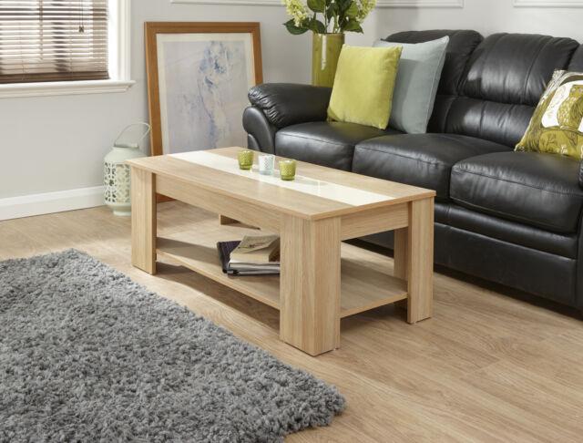 Surprising Gfw Lift Up Coffee Table With High Gloss Strip Oak Cream Inzonedesignstudio Interior Chair Design Inzonedesignstudiocom
