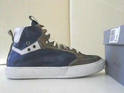 Scarpe uomo sneakers alte Minelli pelle vitello effetto used blubianco n41 €139   eBay
