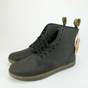 Dr-Marten-Mens-Tobias-Black-Leather-Greasy-Lamper-8-Eye-Boots-Size-10-M