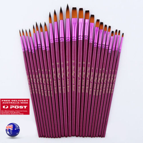12PC Purple Oil Painting Brushes Set Acrylic Watercolor Artist Face Paint Craft