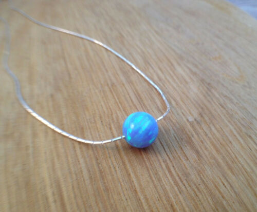 4MM Round Small Bead Opal Necklace 925 Sterling Silver Chain Blue Ball Pendant