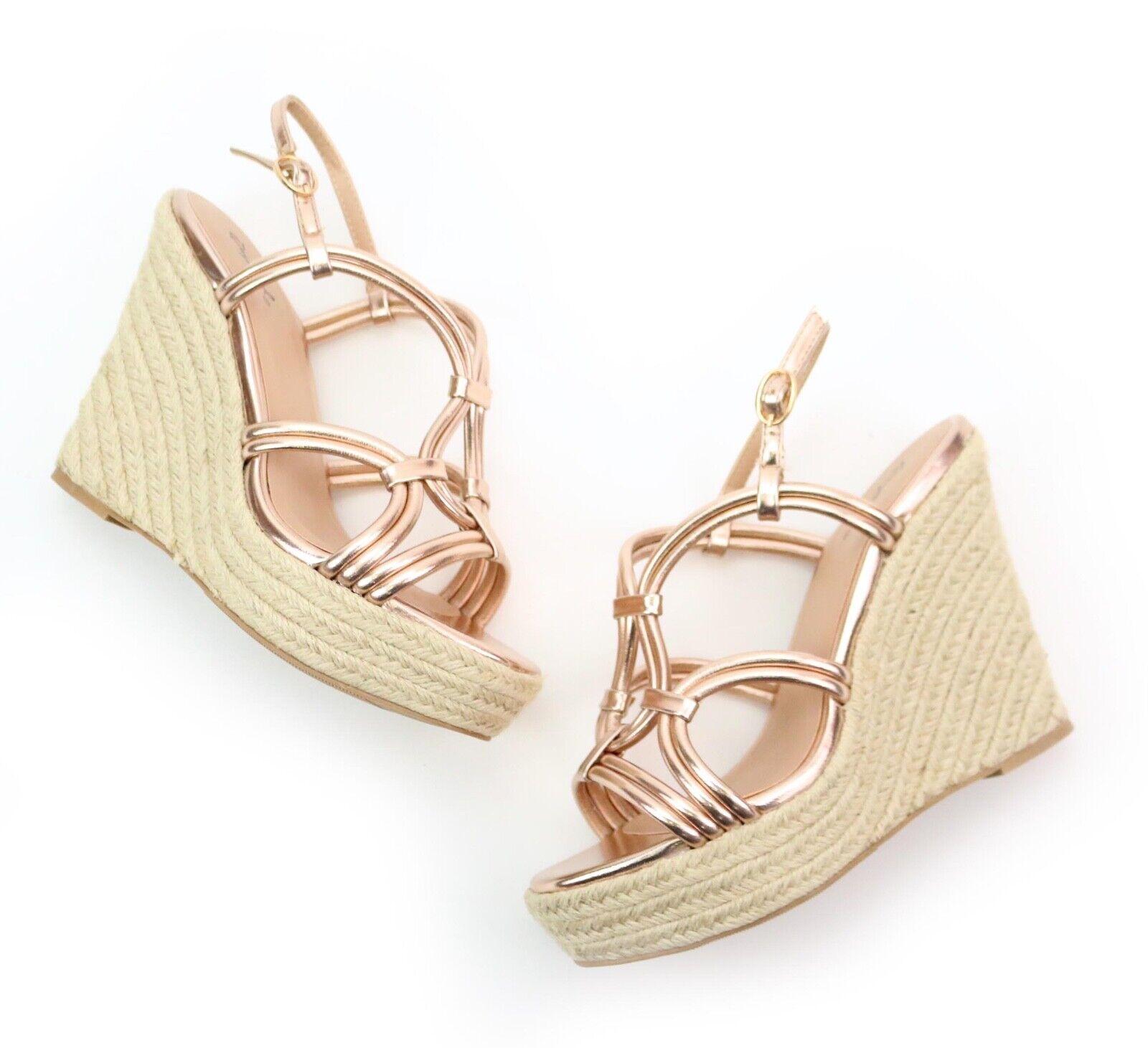 Qupid Kelsey pink gold Metallic Espadrille Wedge Heels Size 7 NEW