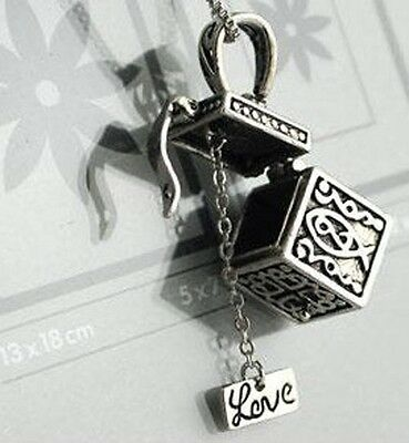 """Exquisite Vintage """"Love"""" Magic Box Openable Pendant Necklace Charms Gift Jf966"""