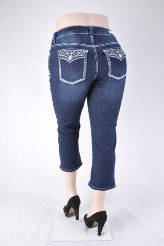 WG-233 NWT Women Plus Size 12-22 Stretch Denim Capri Jeans Dark Indigo Wash