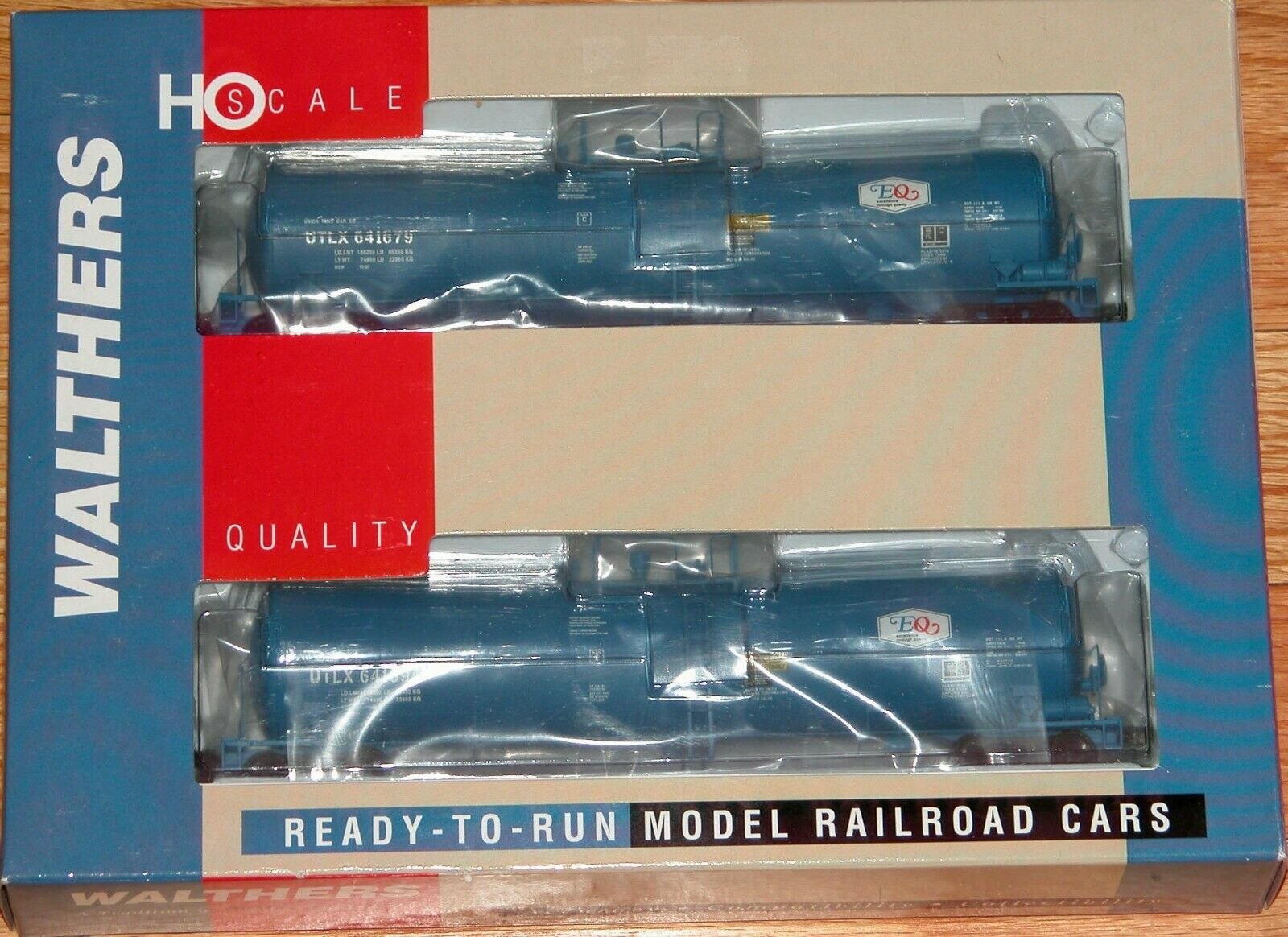 WALTHERS 932-27252 UTLX 23,000 GALLON FUNNEL FLOW TANK CAR 2-PK EQ UTLX blu