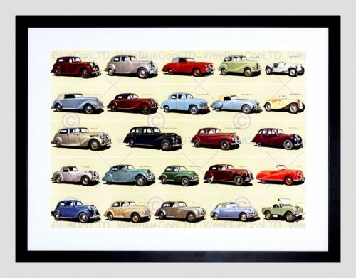 ADVERT PRODUCTS OF THE BRITISH MOTOR CAR INDUSTRY FRAMED ART PRINT B12X11059