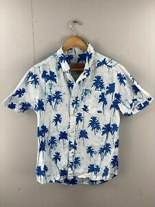Brooklyn Cloth Mfg. Co Vintage Men's Short Sleeve Shirt - Size Large -White Blue