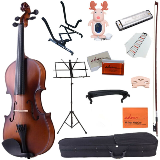 4/4 Full Size Handcrafted Solid Wood Student Acoustic Violin Starter Kits,Brown
