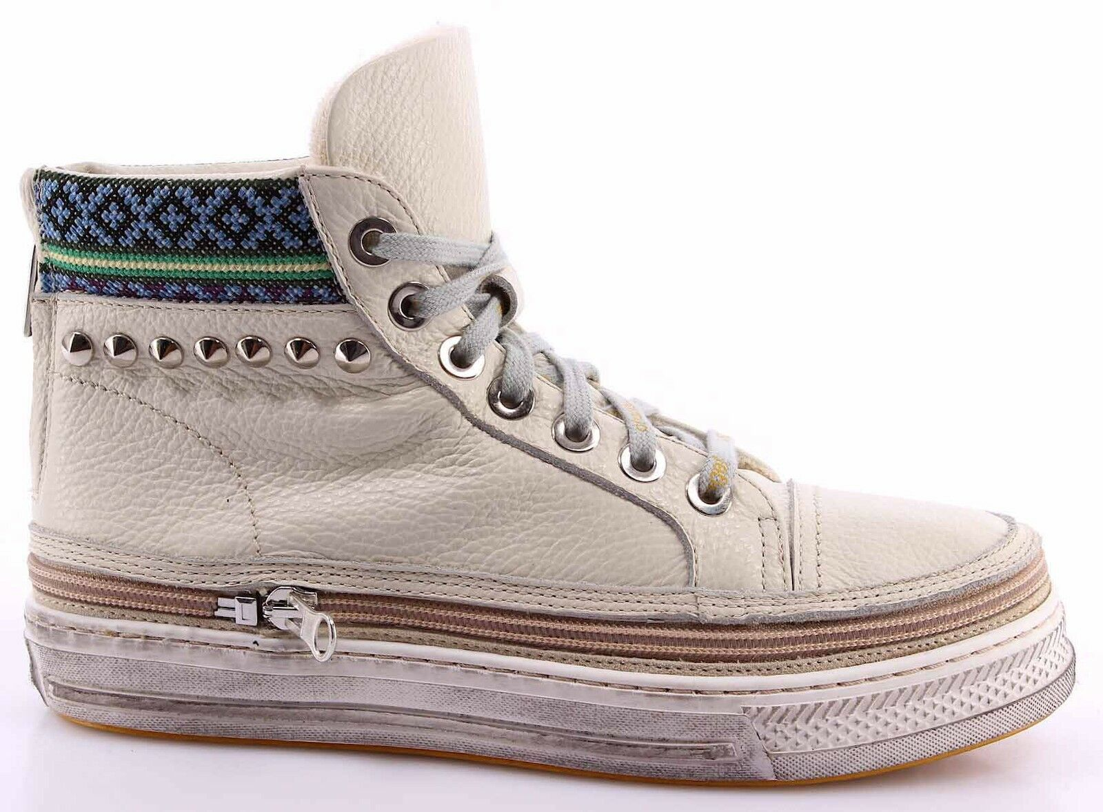 Women's High Top Sneakers CHANGE  KundaD Natural Leather Light Beige Made IT
