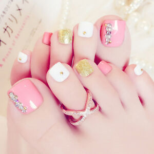 Image Is Loading 24Pcs Pink 3D False Toe Nails French