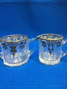 Antique-Cut-Crystal-Sterling-Silver-Overlay-Sugar-Bowl-and-Creamer