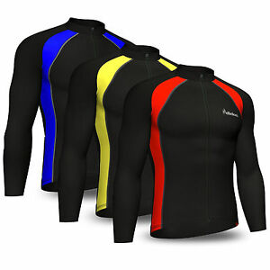 Mens-Cycling-Jersey-Full-Sleeve-Cold-Wear-Thermal-Fleece-Top-Bike-racing-team
