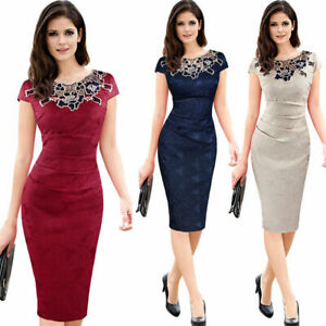 Womens-Elegant-Vintage-Casual-Patchwork-Bodycon-Office-Wear-to-work-Pencil-Dress