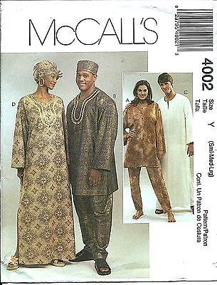 M 4002 sewing pattern TUNIC CAFTAN PANTS HAT HEADWRAP adult sew size S,M,L 34-44