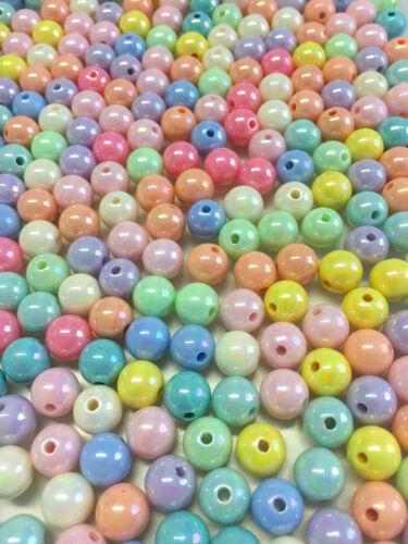 50 Stück 10 mm Perlen gemischt bunt gemischt AB Farbe Acrylperlen NEU 1193