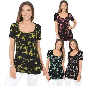 Womens-Ladies-Pattern-T-Shirt-Camo-Print-Blouse-Scoop-Neck-Baggy-Long-Top-Tunic