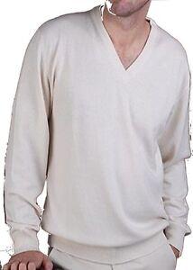 Ecru Xl 100 Pullover uomo a con V Cashmere da Cashmere scollo Balldiri vtPwdqX