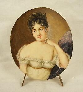 Juliette-Julie-Recamier-Miniatur-c1900-Ol-auf-Platte-Zellstoff-Tupfer-8-CM