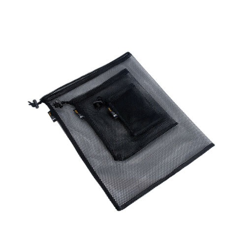 Black Polyester Mesh Pouch Set S M L Drawstring Bag for Outdoor Camping Travel
