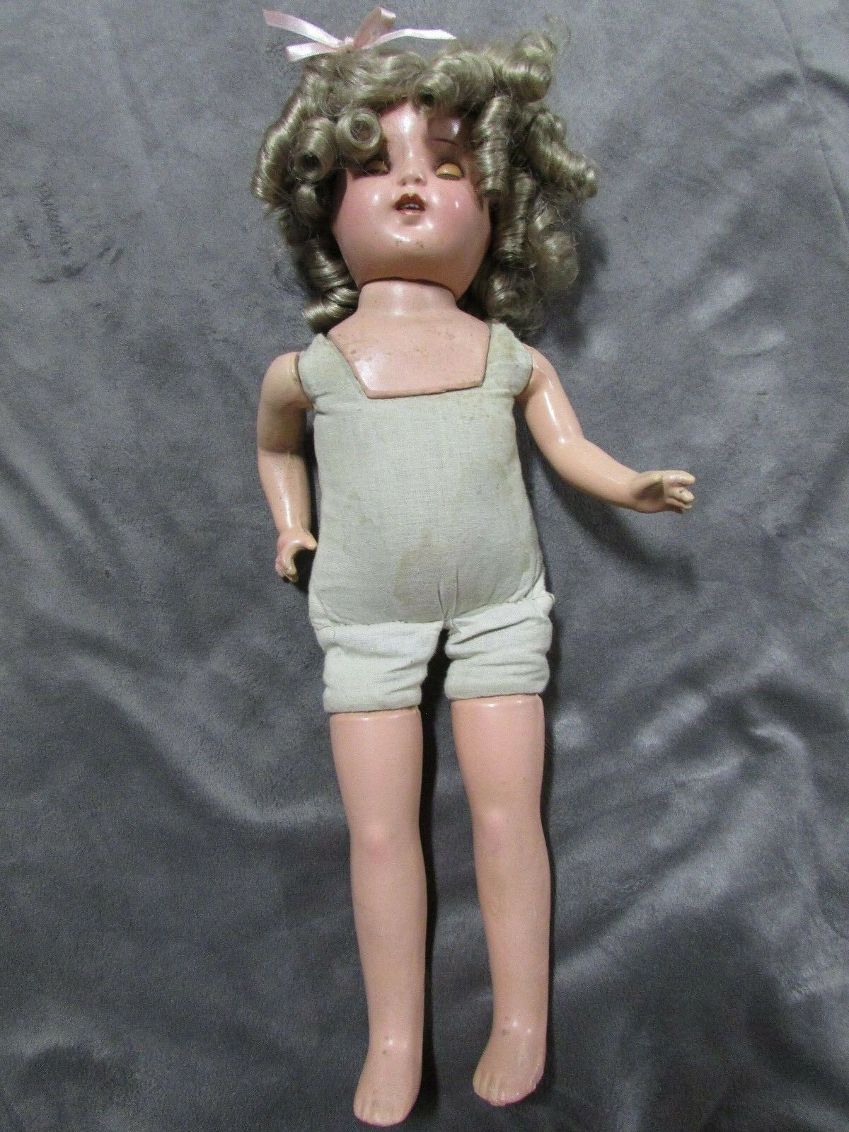 ANTIQUE RELIABLE SHIRLEY TEMPLE COMPOSITION & SOFT BODY MOVING EYES CANADIAN
