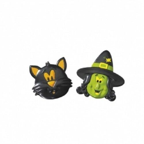 Cake Decoration or Party Bags 6 Halloween Witch /& Cat Rings
