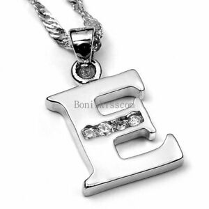 Silver-Tone-Alphabet-Initial-Letter-Charm-Pendant-Necklace-Birthday-Gift-A-Z