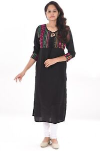 8d035f73e40 Details about Girl s tunic Indian Fit Jackets Pattern Ethnic Wear Kurtis  Plus Size Black color