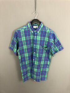 LACOSTE-Retro-Short-Sleeve-Shirt-Size-Medium-Check-Great-Condition-Men-s