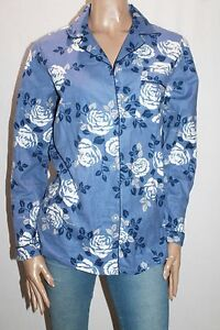 SOHO-Brand-Blue-Floral-Flannel-Long-Sleeve-Lounge-Shirt-Top-Size-S-BNWT-SD40