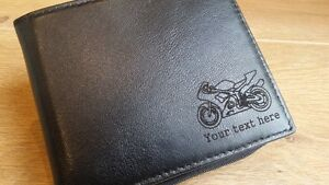 motorbike engraved leather wallet merchandise gift