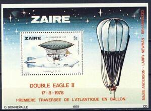 Zaire-BL30-Bloc-30-Histoire-de-l-039-Aviation-1978-MNH