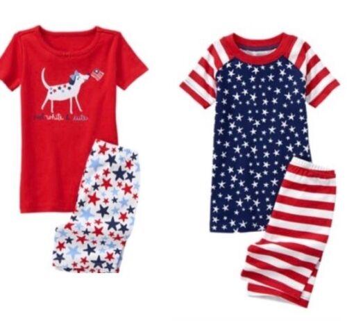 Gymboree Red White /& Cute 4 6 8 10 Gymmies Pajamas Boys Girls American Flag
