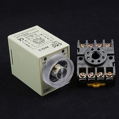 DC24V Power On Delay AH3-3 Timer 0-10s Relay With 8Pins Socket Base 083A