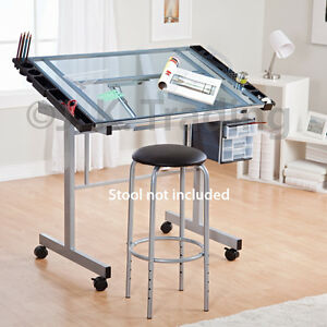 Merveilleux Image Is Loading Drafting Table Drawing Table Adjustable Tilt Castors Glass