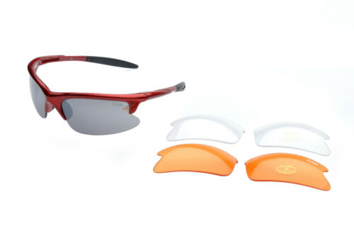 Radbrille 3 Wechselgläser RAVS Sportbrille -Sonnenbrille Fahrradbrille inkl