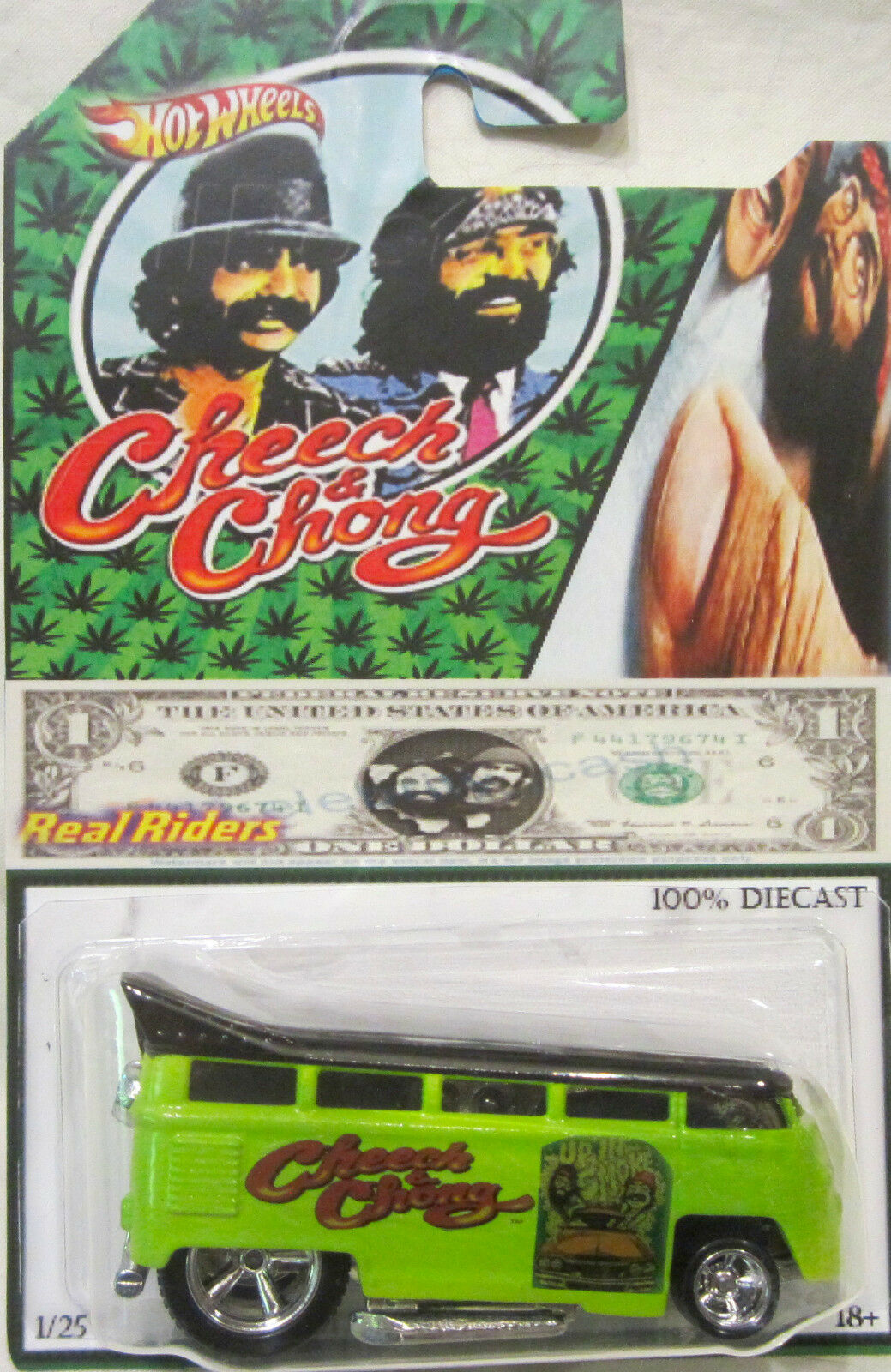 Hot Wheels Personnalisé Volkswagen Drag Bus Cheech & Chong Real Riders 1 25