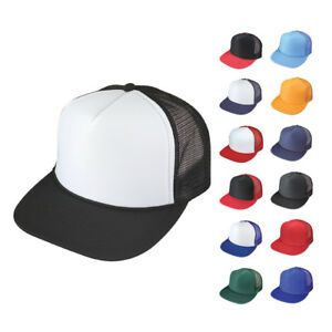 8c8150ec6cb Flat Bill Blank Two Tone 5 Panel Mesh Foam Trucker Baseball Hats ...