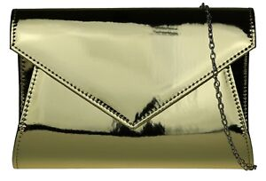 Elegant Womens Patent Plain Clutch Bag Faux Leather Glossy Wedding Party Evening