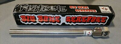 "Fishbone /""Big Bone/"" NOS 25.4mm Old School BMX proprietary seatpost SILVER"