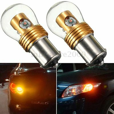 2x 1156 BA15S Amber Yellow Turn Signal Bulbs 20W  High Power LED Tail Light