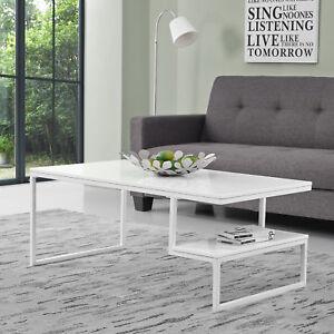 Détails sur Table Basse Blanc Laqué Haute Brillance 110x60cm Table de Salon  Table D\'Appoint