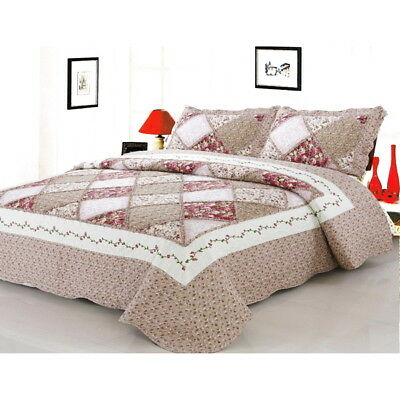 Home & Garden Fashion Style 3pc Set Queen/king Cotton Patchwork Coverlet Quilted Throw Bedspread