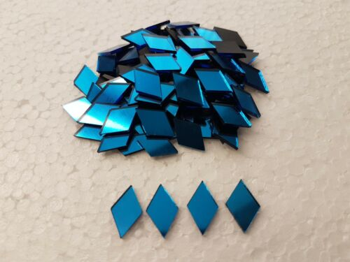 50 pieces Turquoise Glass Mirror Diamond Shape,Size  1x1.7 cm 1.6 mm Thick