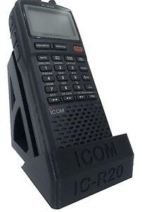 Desktop-Stand-ICOM-IC-R20-Hand-Held-Scanner-Receiver-BLACK-SLIVER-GREY