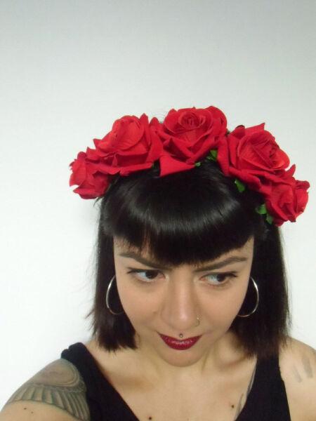 100% Vero Cerchietto Per Capelli Corona Fiori Rose Rosse Calavera Catrina Parrucchiere Alta Qualità E Basso Sovraccarico