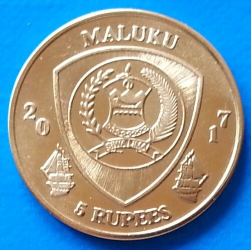 Maluku Islands 5 rupees 2017 UNC Zebrasoma Pazifischer Fish Ship unusual coinage