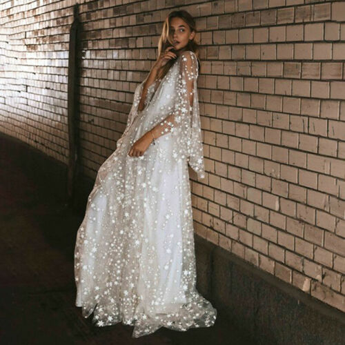 Womens Mesh Sheer Star Glitter Maxi Long Dress Party Evening Cocktail Ball Gown